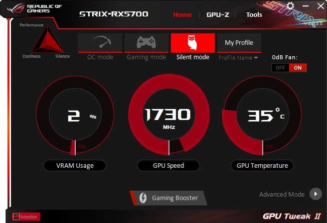 Asus Strix RX 5700 O8G Gaming GPU Tweak II Silent mode