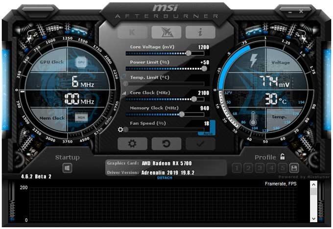 Přetaktování Asus Strix RX 5700 O8G GamingC; Afterburner