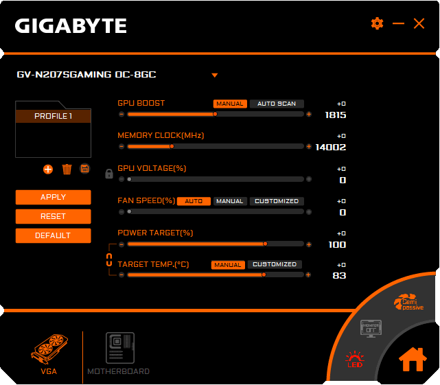 Gigabyte RTX 2070 SUPER Gaming OC Graphics Engine Professional mode