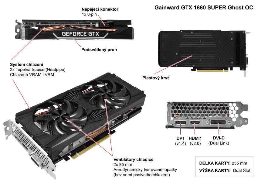 Gainward GTX 1660 SUPER Ghost OC; popis