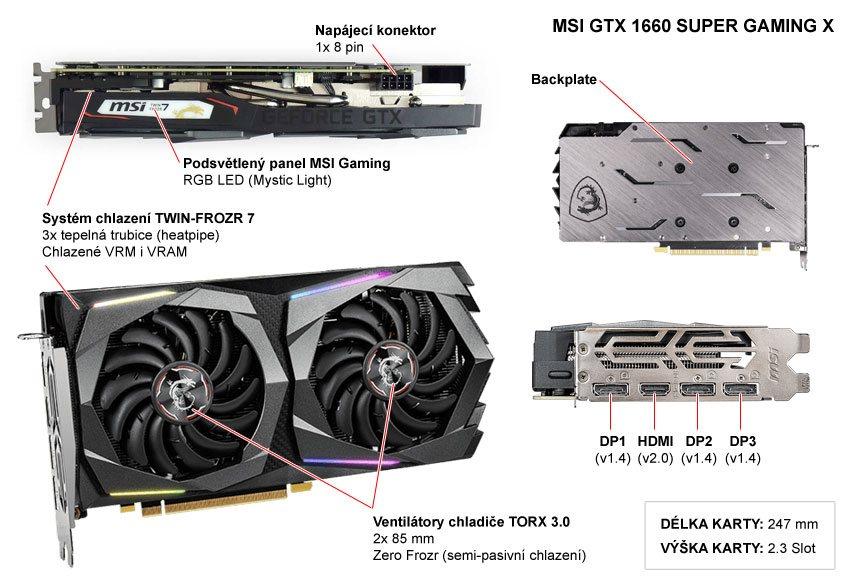 MSI GTX 1660 SUPER Gaming X 6G; popis