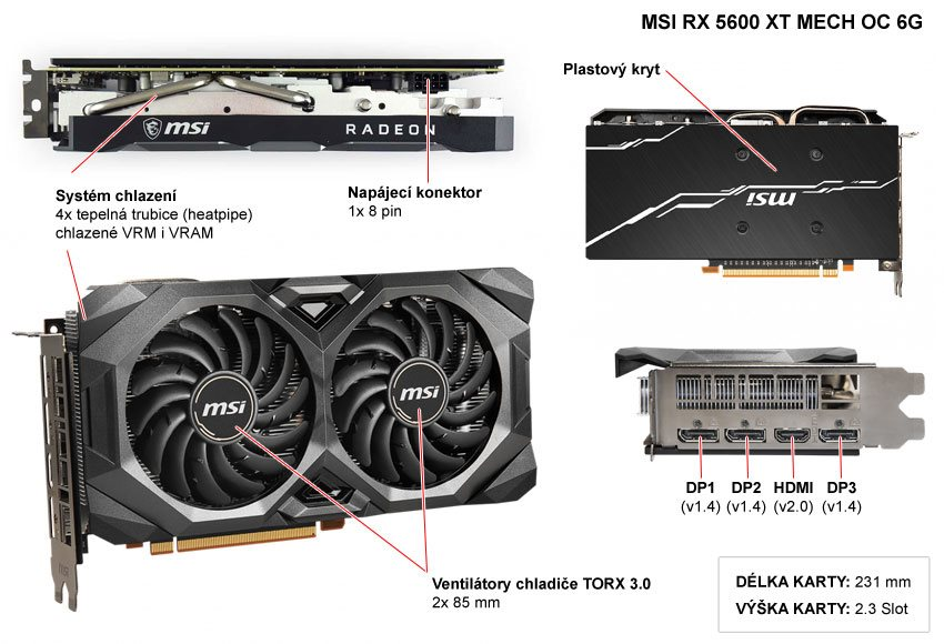 Popis grafické karty MSI RX 5600 XT MECH OC 6G