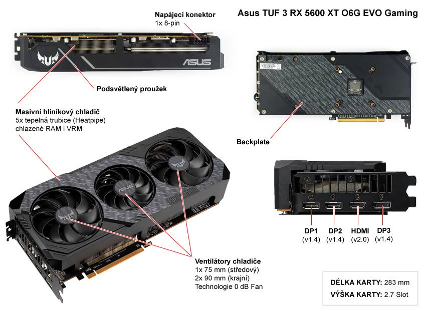 Popis grafické karty Asus TUF 3 RX 5600 XT O6G EVO Gaming