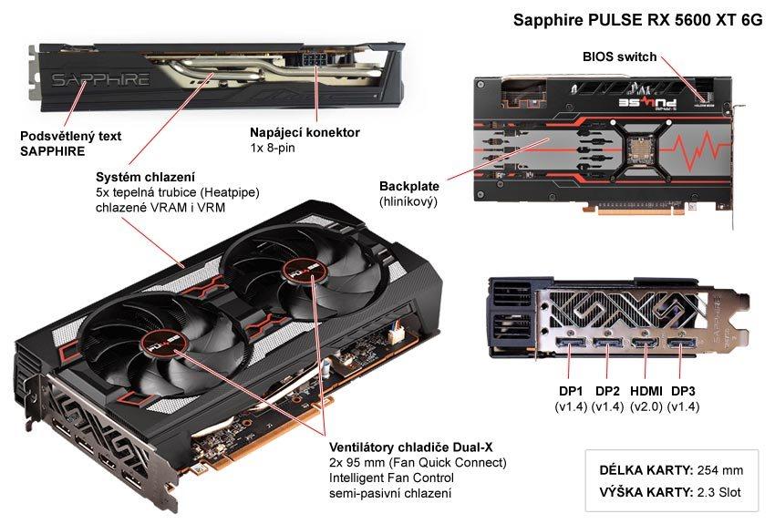 Popis grafické karty Sapphire PULSE RX 5600 XT 6G