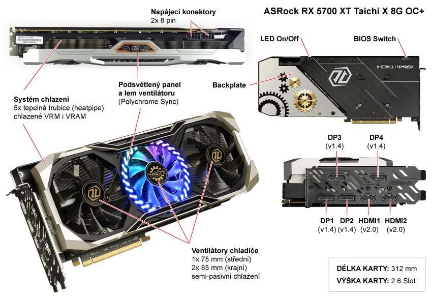 Popis grafické karty ASRock RX 5700 XT Taichi X 8G OC+