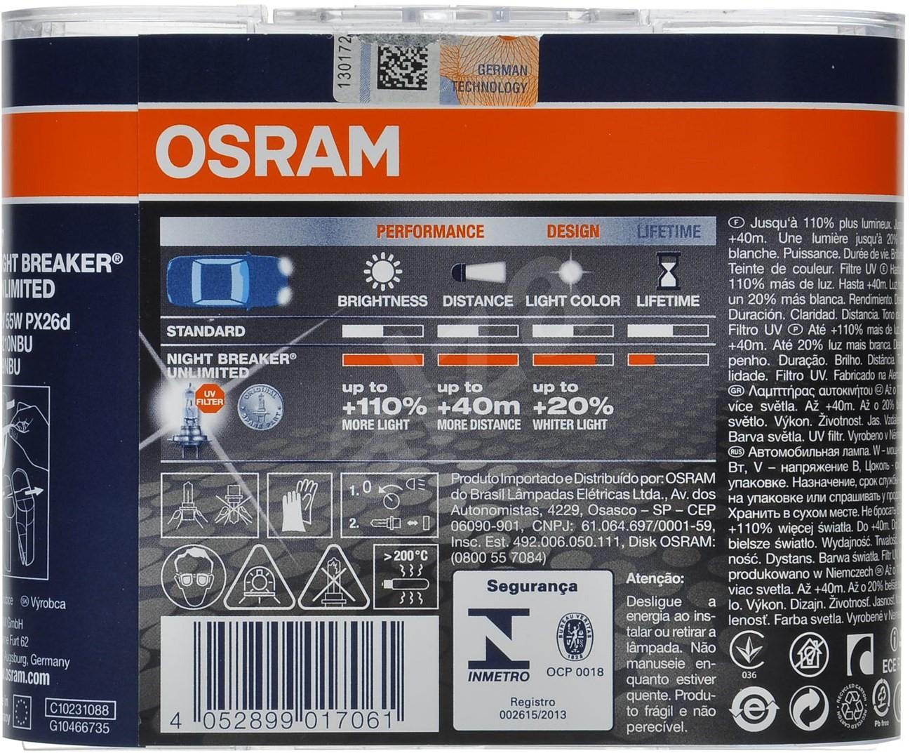 osram night breaker unlimited h7 55w px26d 2ks. Black Bedroom Furniture Sets. Home Design Ideas