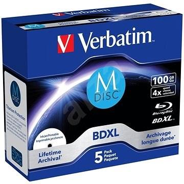 VERBATIM M-DISC BD-R XL 100GB, 4x, printable, jewel case 5 ks - Média