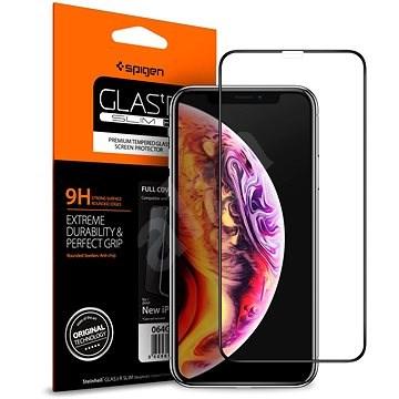 Spigen Glass FC HD Black iPhone 11/XR - Ochranné sklo