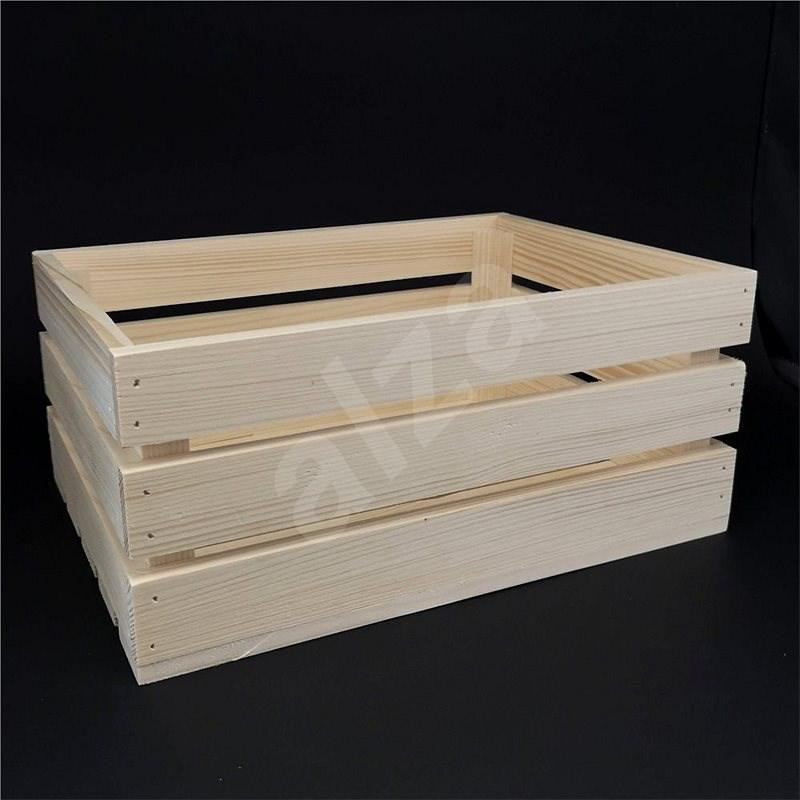 AMADEA Dřevěná bedýnka z masivního dřeva, 34x24x15 cm - Úložný box