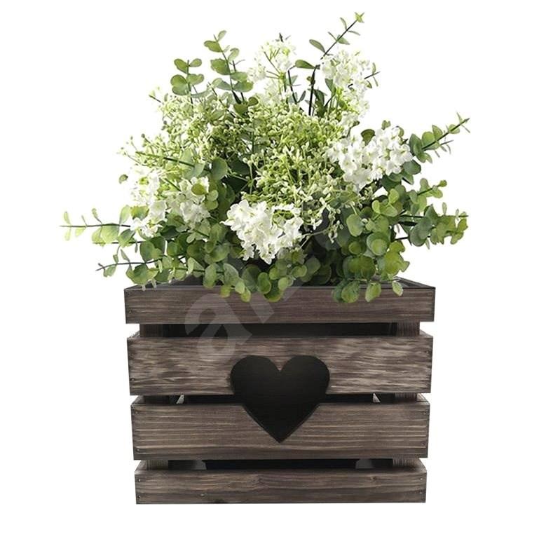 AMADEA Dřevěný obal na květináč se srdcem tmavý, 27x27x20 cm  - Obal na květináč