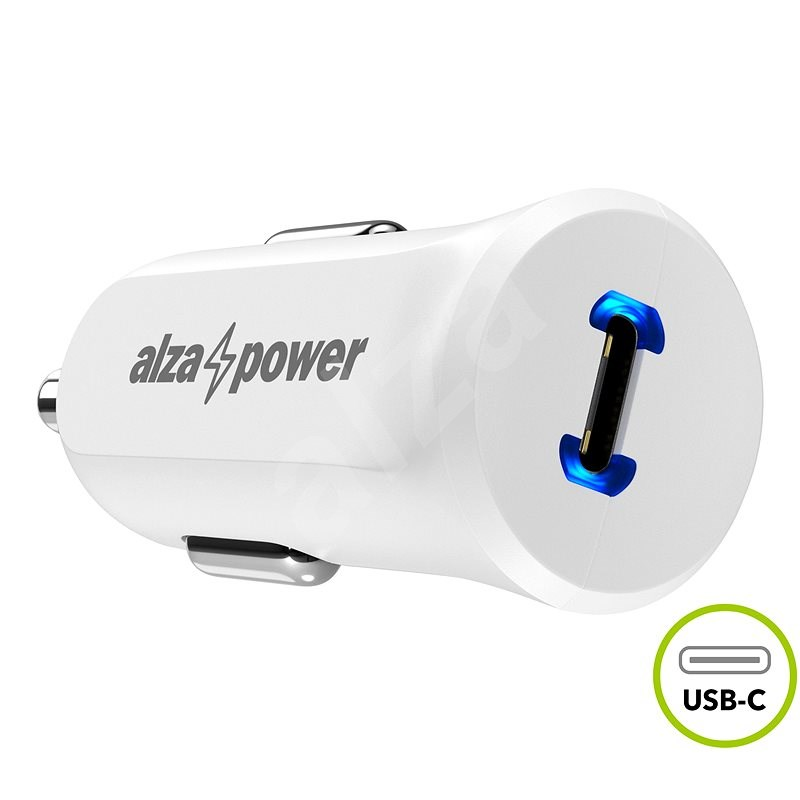 AlzaPower Car Charger P310 USB-C Power Delivery bílá - Nabíječka do auta