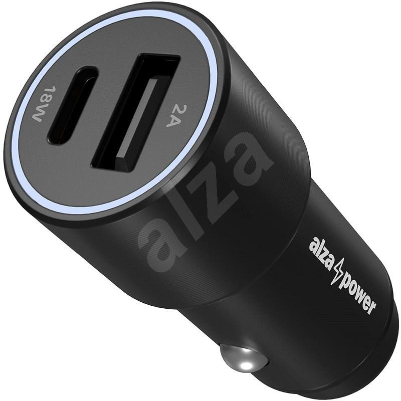 AlzaPower Car Charger P520 USB + USB-C Power Delivery černá - Nabíječka do auta