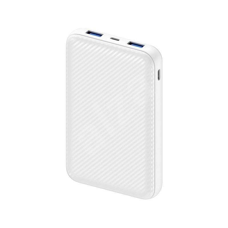AlzaPower Carbon 10000mAh Fast Charge + PD3.0 bílá - Powerbanka