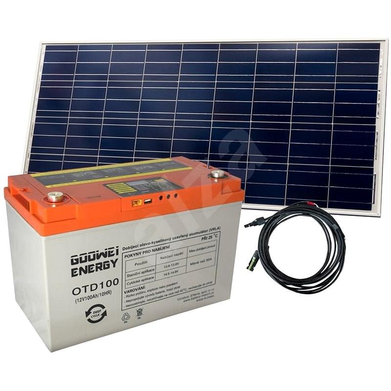 Set baterie GOOWEI ENERGY OTD100 (100Ah, 12V) a solární panel Victron Energy 115Wp/12V - Trakční baterie