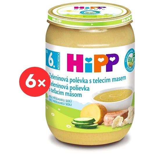 HiPP BIO Zeleninová polévka s telecím masem - 6× 190 g - Příkrm