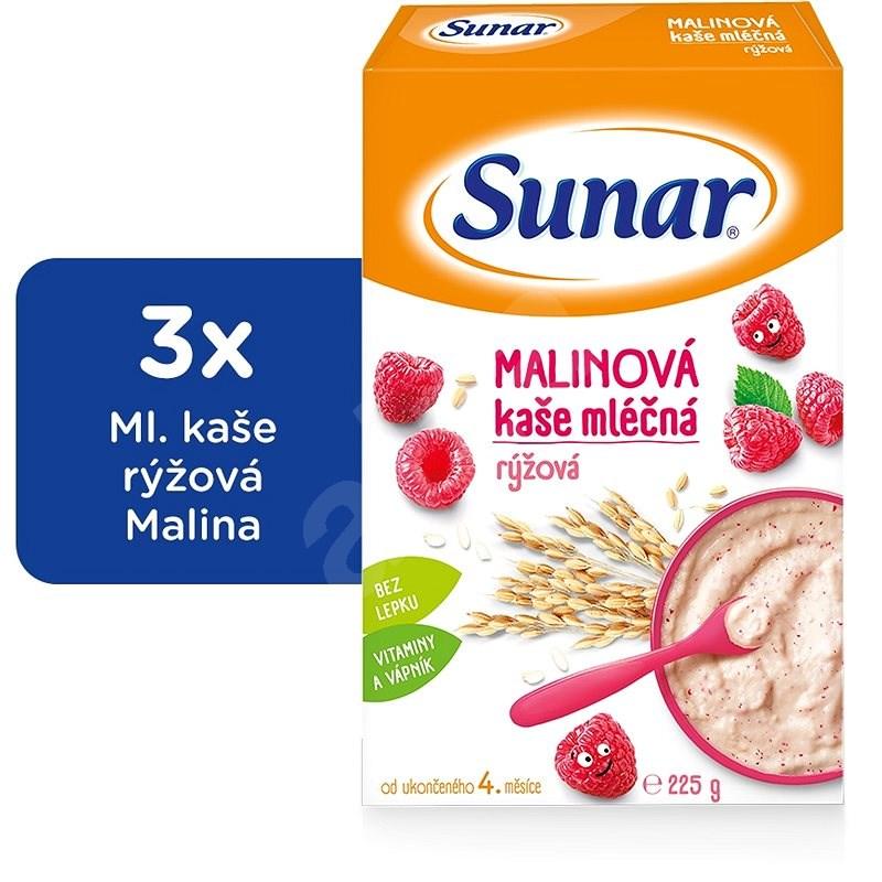 SUNAR malinová kašička - 3× 225 g - Mléčná kaše