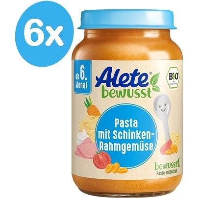 ALETE BIO Příkrm Zeleninový s těstovinami a vepřovou šunkou z kýty a plece 6× 190 g - Příkrm