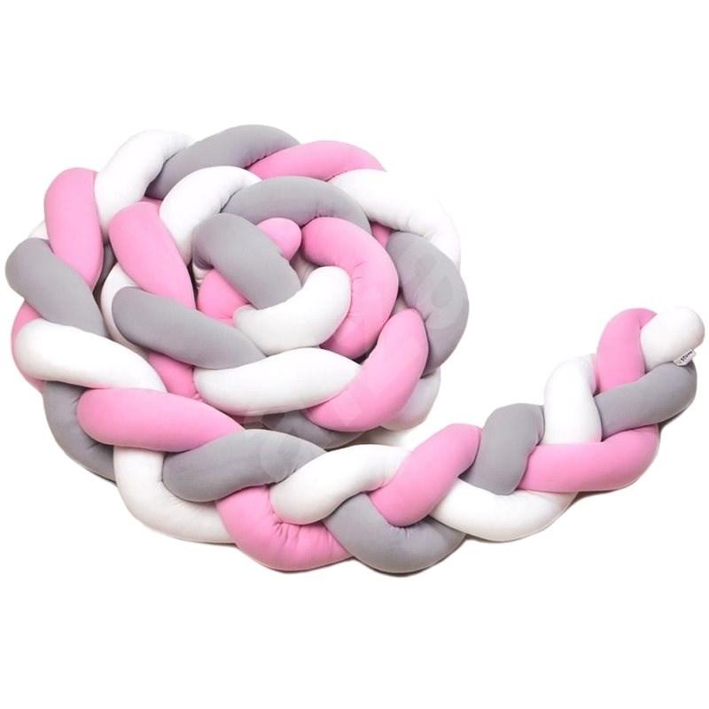 T-tomi Pletený mantinel 180 cm, white / grey / pink - Mantinel do postýlky