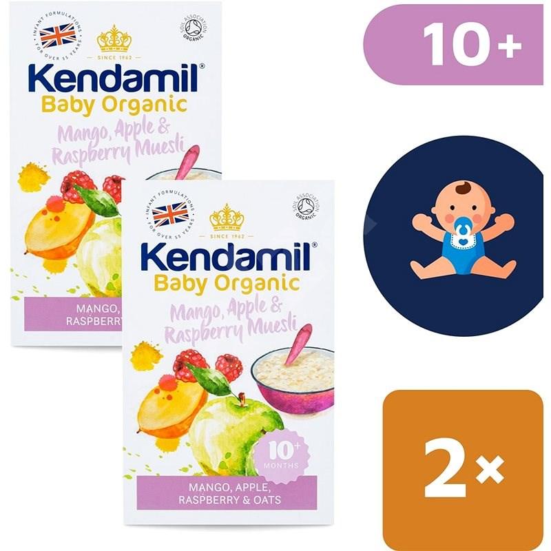 Kendamil Bio/organická ovesná kaše s ovocem (mango, jablko, malina) 2× 150 g - Nemléčná kaše