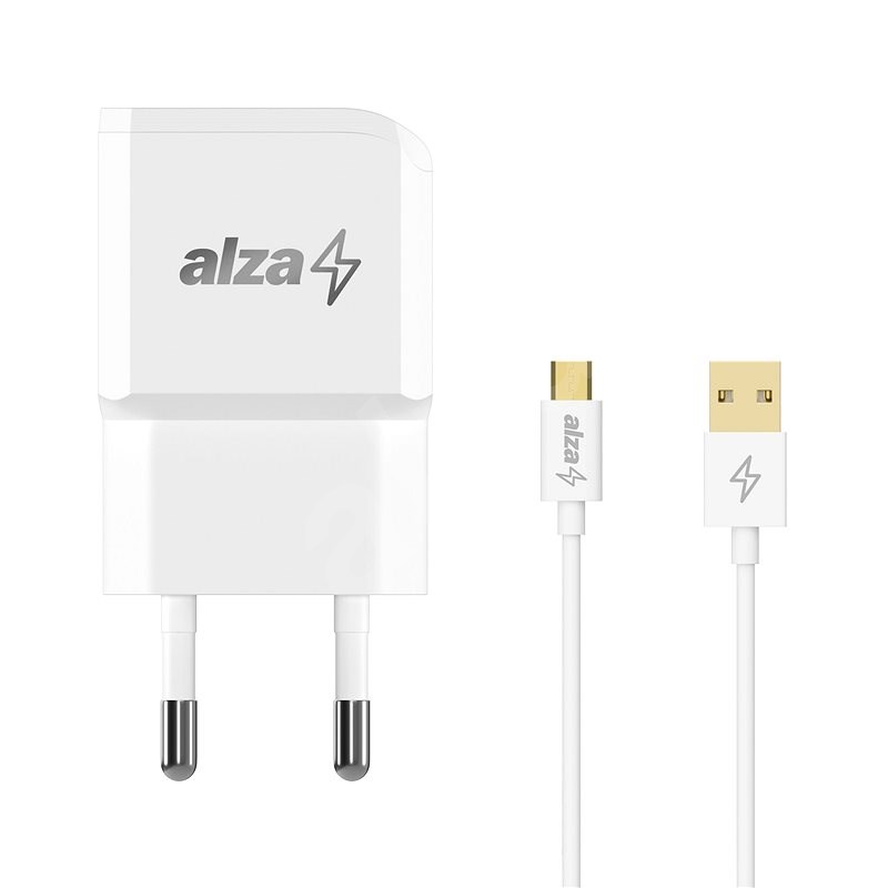 AlzaPower Smart Charger 2.1A + AlzaPower Core Micro USB 1m bílý - Nabíječka do sítě