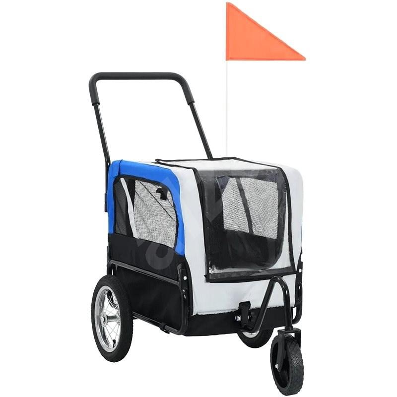 Shumee Vozík pro psa za kolo a na běhání 2v1 šedo-modrý - Vozík za kolo