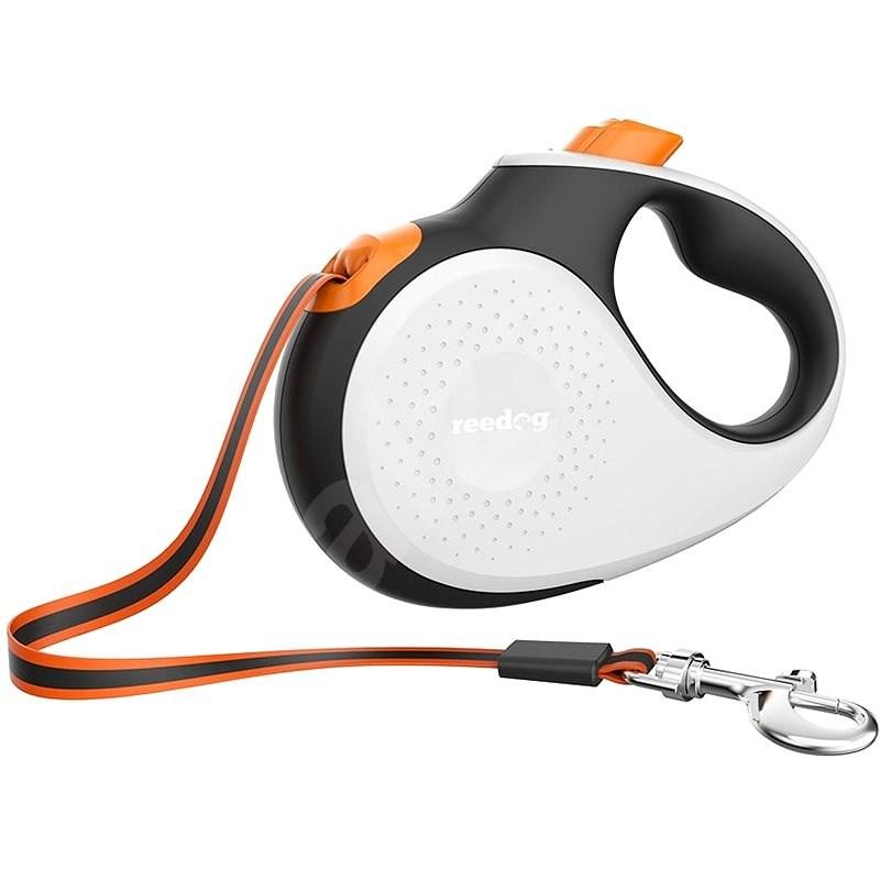 Reedog Senza Premium samonavíjecí vodítko M 25 kg / 5 m páska / bílé s oranžovou - Vodítko