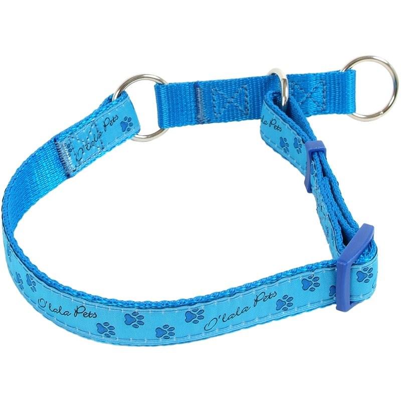 Olala Pets obojek polostahovací  tlapky 15 mm x 23-35 cm, modrá - Obojek pro psy