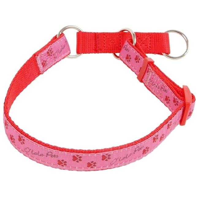 Olala Pets obojek polostahovací  tlapky 20 mm x 33-52 cm, růžová - Obojek pro psy