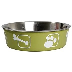 Karlie-Flamingo Stainless-steel Bowl with Plastic Sheath, Green, 23cm, 2200ml - Dog Bowl