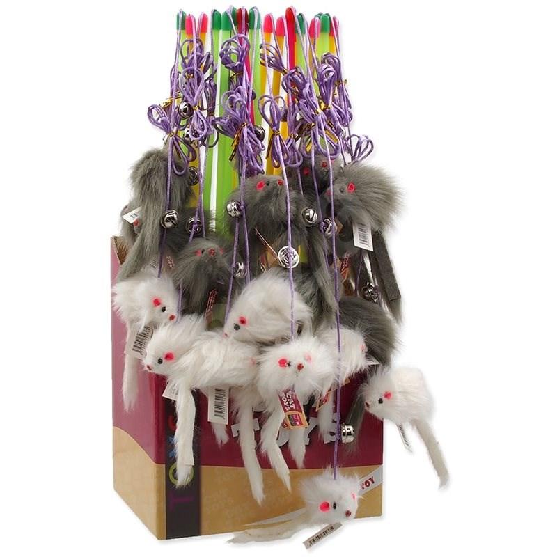 MAGIC CAT hračka prut s myškou a rolničkou catnip 17 cm + 49 cm 24ks - Hračka pro kočky