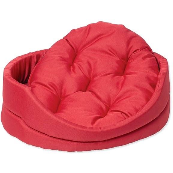 DOG FANTASY pelech oval s polštářem 42×34×14cm červený - Pelíšek pro psy