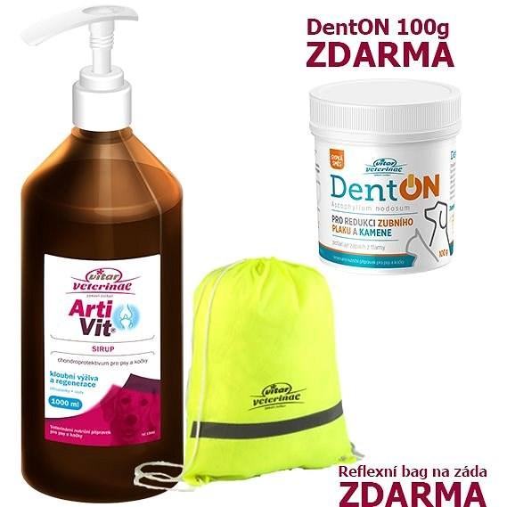 Vitar Veterinae Artivit sirup 1000 ml + Zdarma DentOn 100 g + Bag - Kloubní výživa pro psy