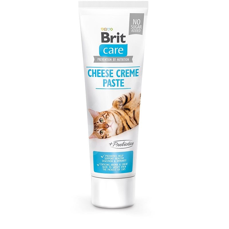 Brit Care Cat Paste Cheese Creme enriched with Prebiotics 100g - Food Supplement for Cats