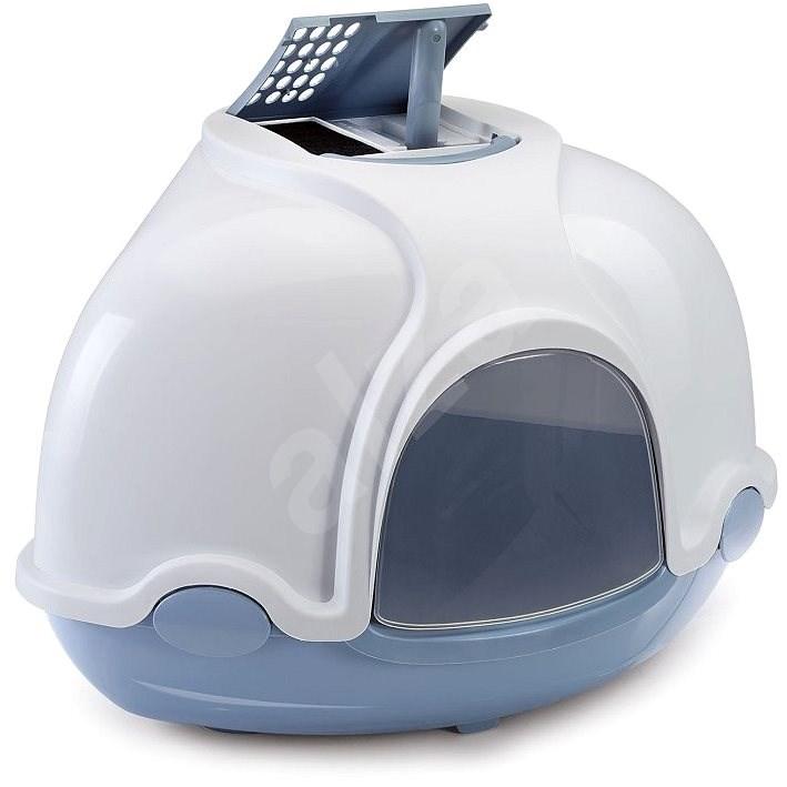 IMAC Krytý kočičí záchod rohový s filtrem 52 × 52 × 44,5 cm modrý - Kočičí toaleta
