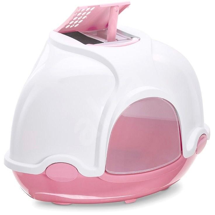 IMAC Krytý kočičí záchod rohový s filtrem 52 × 52 × 44,5 cm růžový - Kočičí toaleta