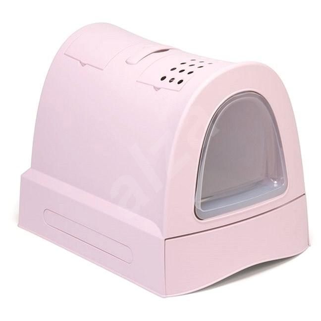 IMAC Krytý kočičí záchod s výsuvnou zásuvkou 40 × 56 × 42,5 cm růžový - Kočičí toaleta