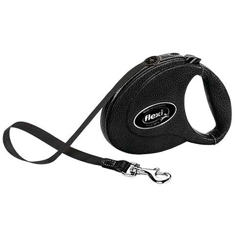 Flexi Leather popruh M 5m černá kozí kůže do 25kg - Vodítko