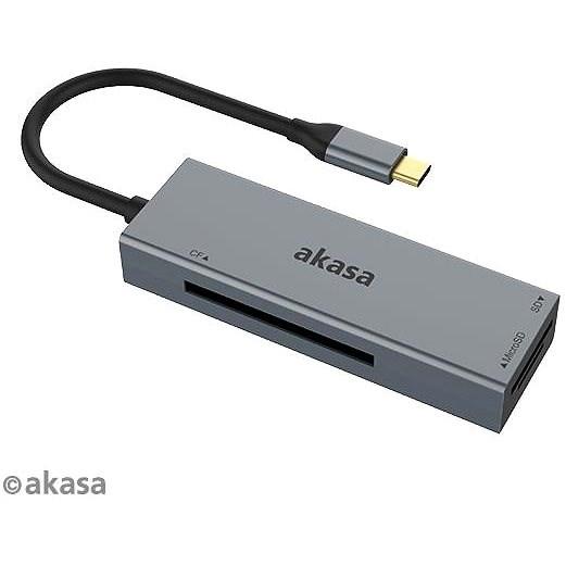 AKASA - 3-in-1 CF, SD a microSD USB C čtečka karet / AK-CR-09BK - Čtečka karet