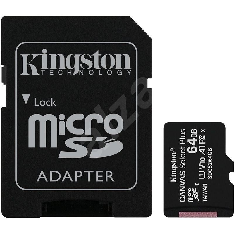 Kingston MicroSDXC 64GB Canvas Select Plus + SD adaptér - Paměťová karta
