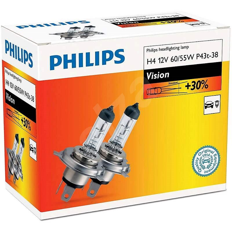 PHILIPS  H4 Vision, 60/55W, patice P43t-38, sada 2 ks - Autožárovka