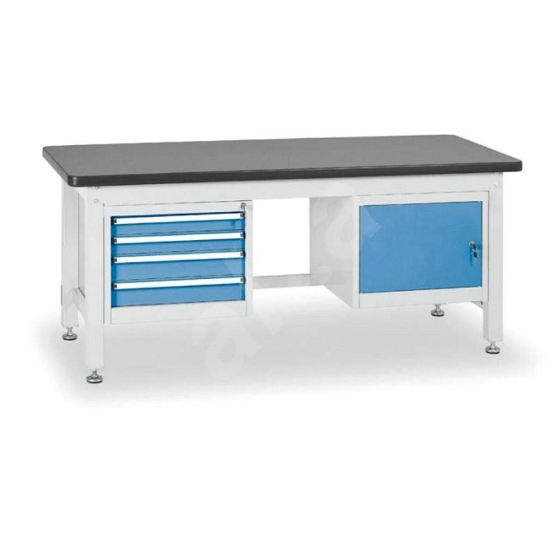 Enprag Dílenský stůl 800 x 2100 x 750 mm - 4 zásuvky + 1x skříňka - Pracovní stůl