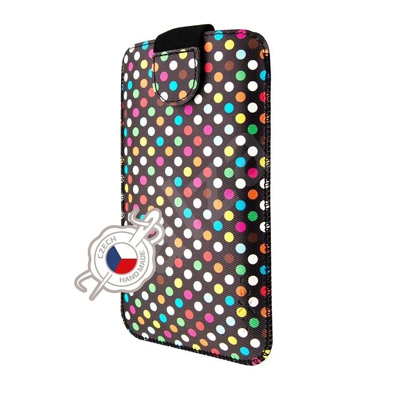 FIXED Soft Slim se zavíráním 5XL motiv Rainbow Dots - Pouzdro na mobil