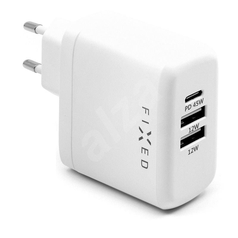 FIXED Travel s USB-C a 2x USB výstupem podpora PD 45W bílá - Nabíječka do sítě