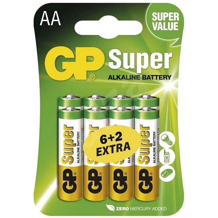 GP Super Alkaline LR6 (AA) 6+2ks v blistru - Jednorázová baterie