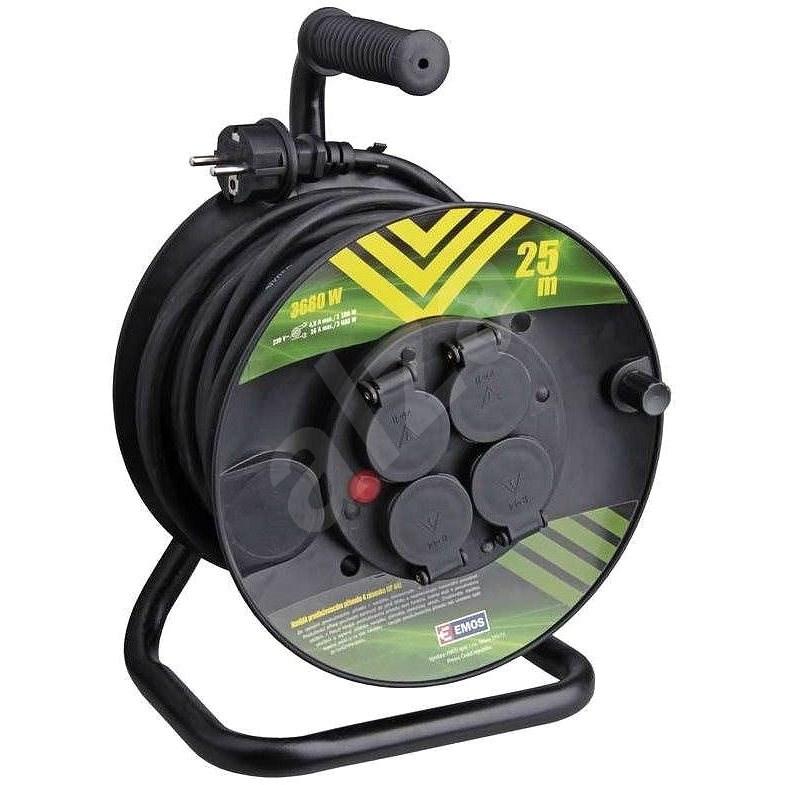 Emos Gumový prodlužovací kabel na bubnu - 4 zásuvky 25m - Prodlužovací kabel