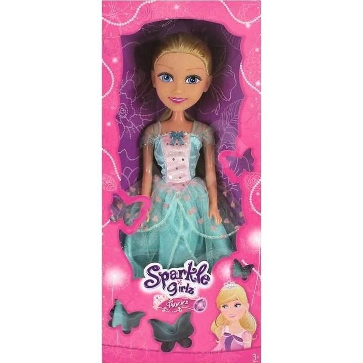 Sparkle Girlz Princezna 50 cm v šatech, modrá/bílá s růží - Panenka