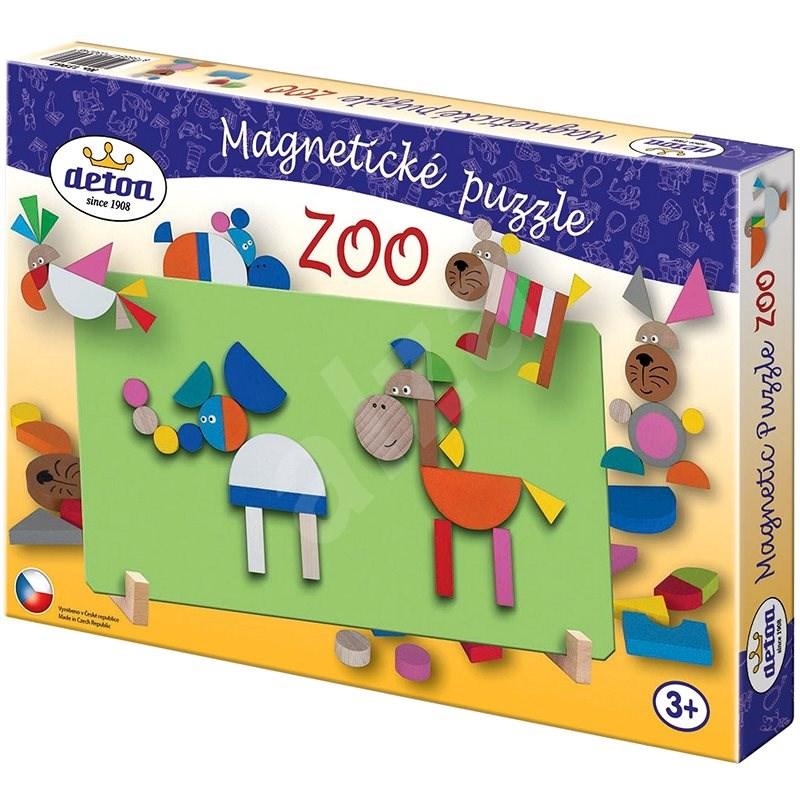 Detoa Dřevěné hračky - Magnetické puzzle ZOO - Puzzle