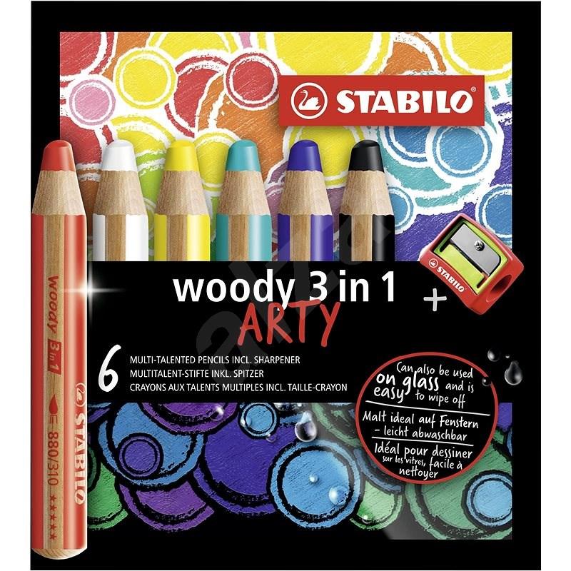 """STABILO Barevné tužky """"Woody ARTY 3 in 1"""", 6 různých barev, kulatá, silná, STABILO - Pastelky"""