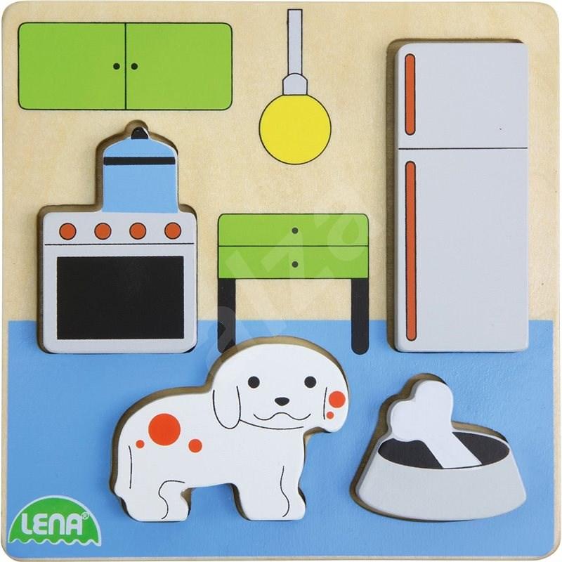 Dřevěné puzzle, kuchyň - Vkládačka