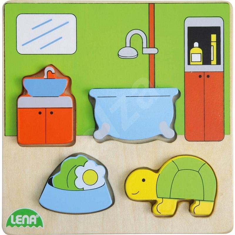 Dřevěné puzzle, koupelna - Vkládačka